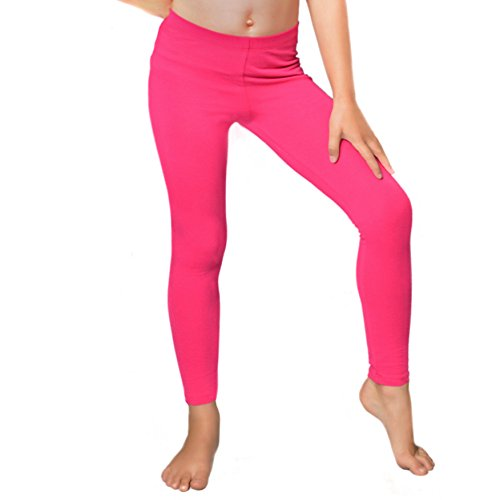 Stretch is Comfort Girl's Cotton Footless Leggings Hot Pink Medium -