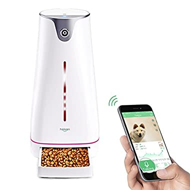 Automatic Pet Feeder, Auto Pet Food Dispenser with Wi-Fi Webcam / Speaker / Night Light, Smart Distribution System Remote Control via iPhone & Android Smartphone, Portion Control, Timer Programmable