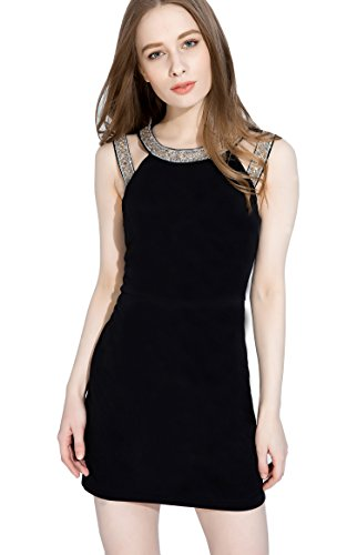 Yingkis Women's Sexy Cut Out Sleeveless Dress Halter Jeweled Neckline Bodycon Cocktail Party Mini Pencil - Halter Gown Jeweled