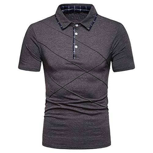 POQOQ T Shirts Polo Tops Blouse Mens Blended Jersey Sport Shirt Mens Casual Slim Fit Short Sleeve Polo T-Shirts Various Styles S Dark Gray for $<!--$20.26-->