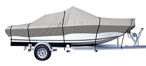iCOVER Trailerable Boat Cover- Water Proof Heavy Duty,Fits V-Hull,Fish&Ski,Pro-Style,Fishing Boat,Utiltiy Boats, Runabout,Bass Boat,up to 14ft-15ft Long and 68Wide,Grey Color,B7301A