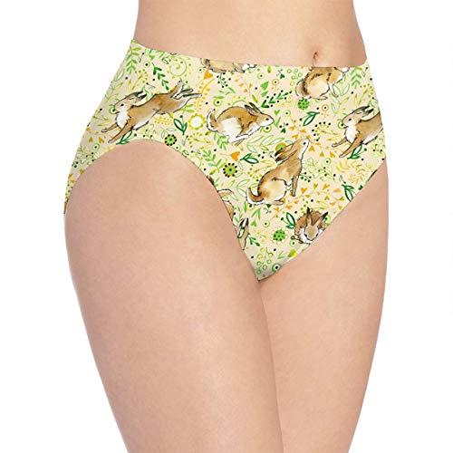 (Women's Hipster Panties Vintage Flower Rabbit Bunny Easter Seamless Underwear Stretch Soft Briefs Lingerie Female)
