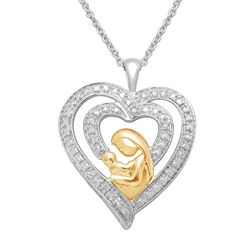 Jewelili 14kt Yellow Gold Plated Sterling Silver Natural White Diamond Accent Mom Child Heart Pendant Necklace, 18