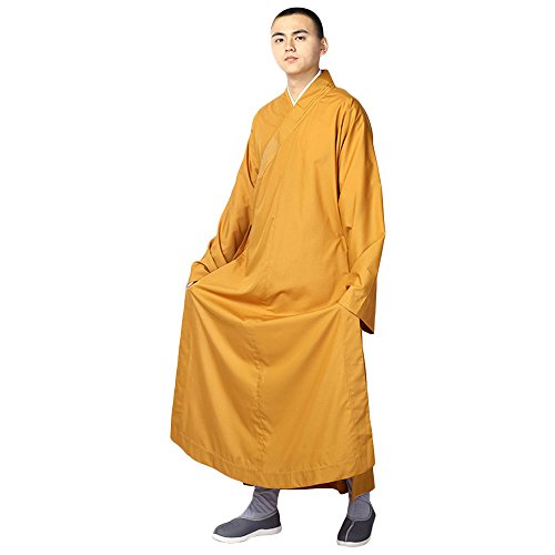 ZooBoo Summer Buddhist Shaolin Monk Robe Cotton Linen Long Robes Gown Kung Fu Uniforms Martial Arts Clothings (Earth Yellow, 45) -