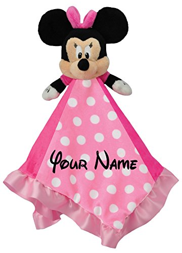 Lowest Prices! Disney Personalized Minnie Mouse Baby Snuggle Blanky Blanket - 14 Inches