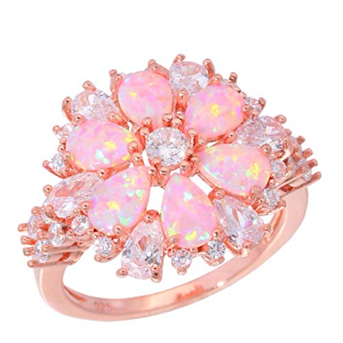 - MARRLY.H Lavish Large Pink Fire Opal Rings with Stone Rose Gold Color Clear Crystal Flower Flora Cherry Blossom Jewelry Woman Girl Pink 8