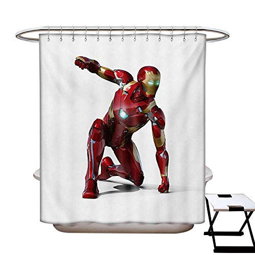 (Superhero Shower Curtains Fabric Robot Transformer Hero with Superpower in Costume Cyber Man Fun Character Print Bathroom Decor Set with Hooks W48 x L84 White)