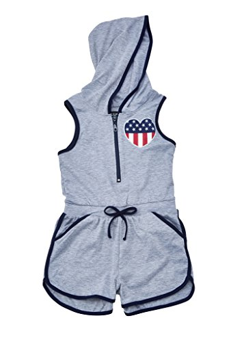 [A33895-HGY-10/12G] Chilipop Girls Shorts Romper - Zip Up, Hooded, Stars & Stripes Heart Print (Outfits For Tweens)