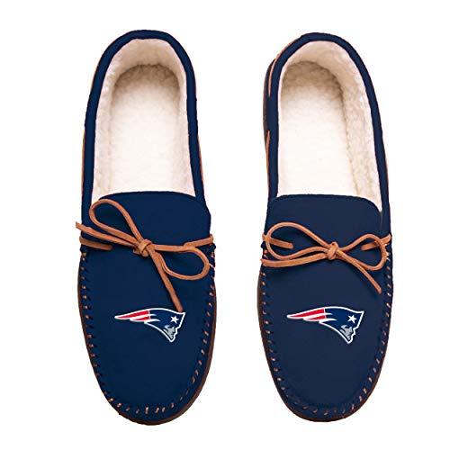FOCO Football Mens Team Color Big Logo Moccasin Slippers Shoe - Pick Team (XL 13-14, New England Patriots)