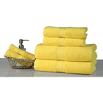 Premium 6 Piece Towel Set (Yellow) Contains 2 Bath Towels, 2 Hand Towels and 2 Face Towels 100% Pure Cotton - Machine Washable, Hotel & SPA Quality, ...