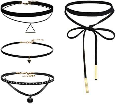 FIBO STEEL Leather Chain Necklace for Women Girls Choker Tassel Necklace Velvet Length Adjustable