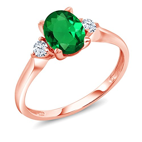 Gem Stone King 10K Rose Gold Green Simulated Emerald and White Created Sapphire 3-Stone Ring 1.10 Ctw (Size ()