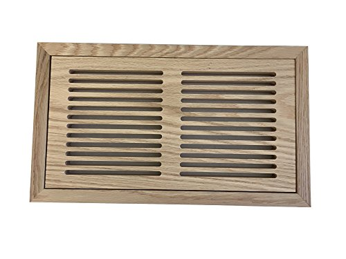 6 Inch x 14 Inch White Oak Hardwood Vent Floor Register Flush Mount with Frame, Slotted Style, Unfinished