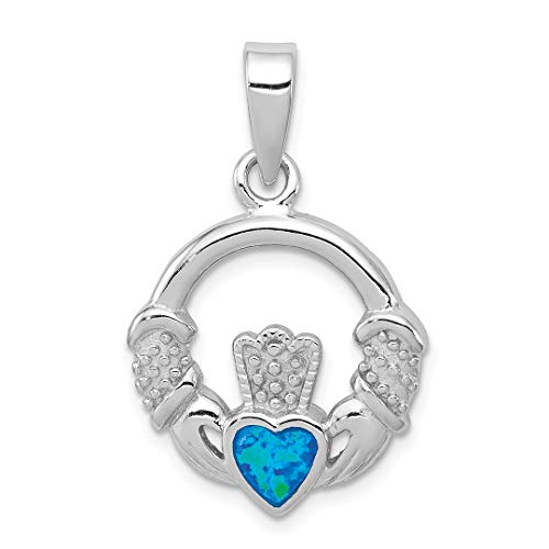 Inlay Sterling Silver Celtic Pendant - ICE CARATS 925 Sterling Silver Blue Inlay Created Opal Irish Claddagh Celtic Knot Pendant Charm Necklace Fine Jewelry Ideal Gifts For Women Gift Set From Heart