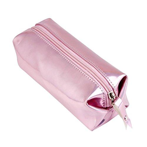 Usstore 1PC Storage makeup Cosmetic Bag Organizer Pencil Case Pen Holder Zipper Boxes (Pink) (Burlap Pencil Case)