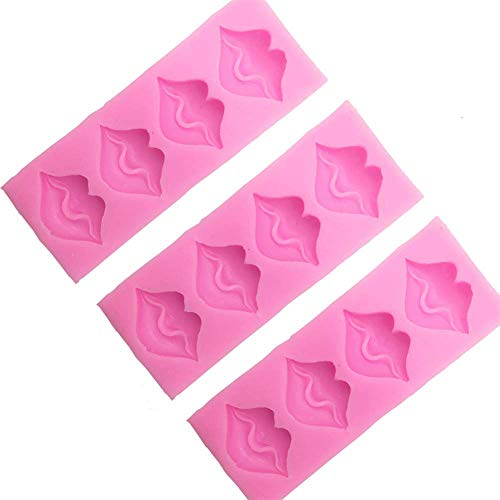 Sexy Lips Candy Chocolate Molds - 3D Kiss Collection Silicone Fondant Mold for Cake Decoration Wedding Party Supplies Set of 3