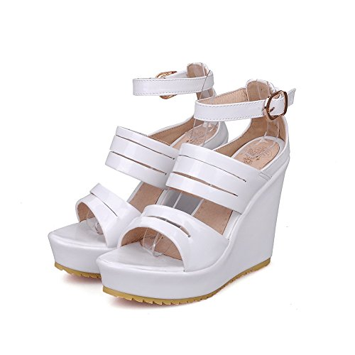 AllhqFashion Women's Open Toe Buckle PU Solid High-Heels Platforms & Wedges White bMgZ8fsSZ