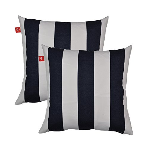 PacifiCasual Patio Indoor/Outdoor Stripe Navy and White Throw Pillow Cushion Cover Decorative Replacement Cushion Case Square 18 x 18, Set of 2