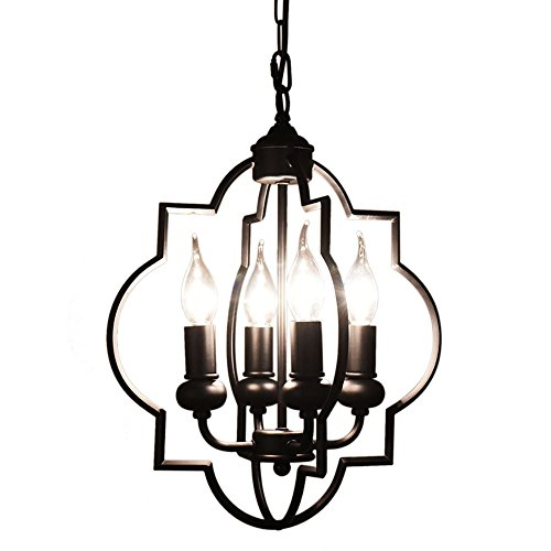 (OYI Vintage Candle Chandelier, 4 Lights Pendant Lighting Industrial Style Ceiling Chandelier Hanging Light Fixture (Black))