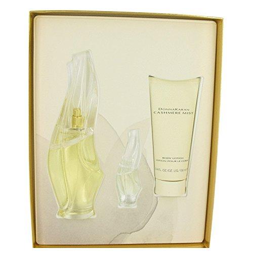 - CASHMERE MIST by Donna Karan Gift Set -- 3.4 oz Eau De Parfum Spray + 3.4 oz Body Lotion + .17 oz Mini EDP