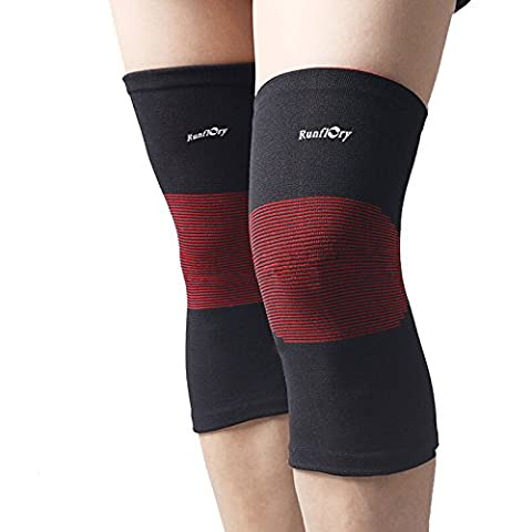 Runflory Compression Knee Sleeves Support Brace, Elastic Sports Knee Braces for Jogging, Running, Hiking & Workout, Recovery Knee Brace for Joint Pain and Arthritis Relief for Men Women - One Pair
