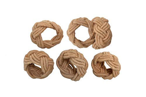 Alpha Living Home Classic Braided Jute Napkin Ring Dinning Table Parties Occasion Everyday Family Gatherings, complement for Dinner Table,Set of 6 - Natural Classic Home Braided Jute