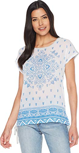 Two by Vince Camuto Women's Short Sleeve Side Tie Persian Medallion Mix Media Tee Grey Heather X-Small (Sheer Tee Jersey Vince)