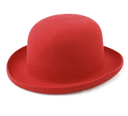 Wool Felt Bowler Fedora Hat Red - 8