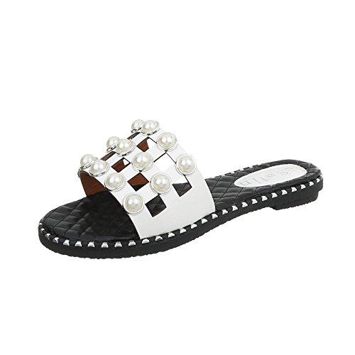 Tacón Design Zapatos Sandalias de 603 para Vestir Ancho Mujer Blanco Zuecos Ital gqxw0na0