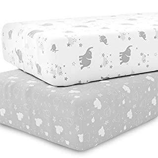 Crib Sheet Set Unisex- Universal Fitted Crib Sheets for Standard Baby or Toddler Mattress - 2 Pack - White Sheets - Jersey Knit Cotton - Super Soft and Safe for Babies Elephants, Stars, Clouds