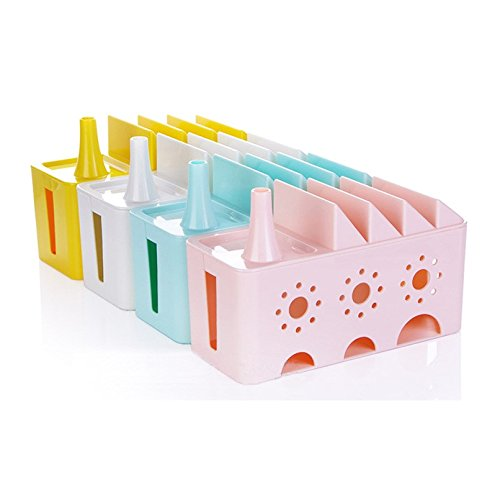 Grocery House Cable Management Storage Box Organizer for Power Strips, Surge Protector, TV Computer Cable, USB Hub (Pink)