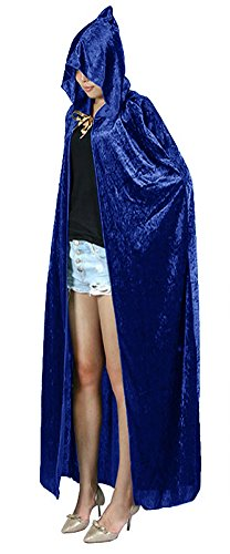 Blue Hooded Cape Costume (Urban CoCo Women's Costume Full Length Crushed Velvet Hooded Cape (blue))