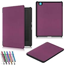 Kobo Aura H2O Edition 2 Case, TDA(TM) Light and Slim Protective Leather Case Cover with Auto Wake/Sleep for 2017 Kobo Aura H2O Edition 2 6.8 Inch E Reader (Purple)
