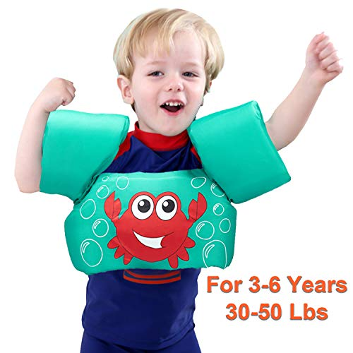 Kids Swim Life Jacket Vest for Swimming Pool, Swim Aid Floats Swim Sleeves Vest with Arm Wings Life Vest Summer Beach Pool Toys, Suitable for 3-6 Years Old 30-50 lbs Kids Boys Girls Toddler July Deals