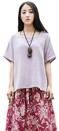 Soojun Women's Casual Loose Short Sleeve Round Collar Cotton Linen Shirt Blouse Tops Purple, One Size ()