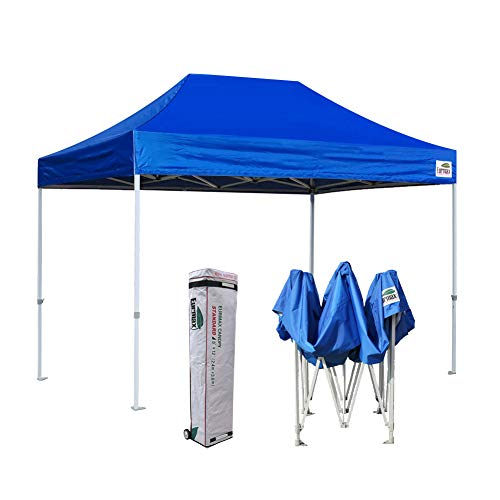 (Eurmax 8x12 Ez Pop Up Canopy Party Tent Commercial Outdoor Instant Canopies Bonus Deluxe Wheeled Storage Bag (Blue))