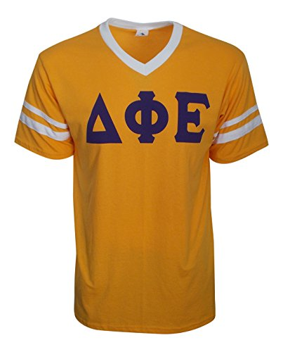 Mega Greek Womens Delta Phi Epsilon Stripe Sleeve Jersey XX-Large Gold