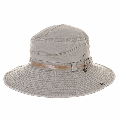 Poly Leather Band (WITHMOONS boonie Bush Hat Wide Brim Faux Leather Band Side Snap DW8340 (Brown,M))