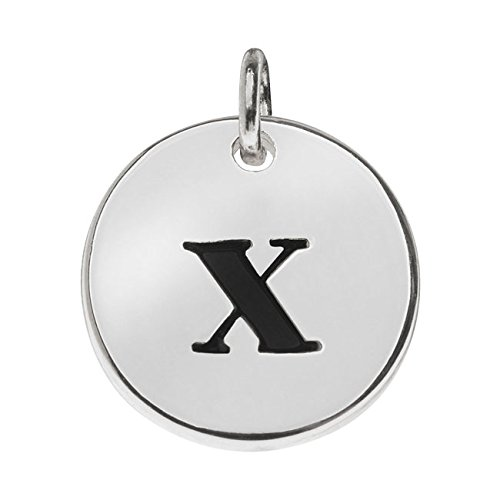 Lead Free Pewter Pendant (Lead-Free Pewter, Round Alphabet Charm Lowercase Letter 'x' 13mm, 1 Piece, Silver Plated)