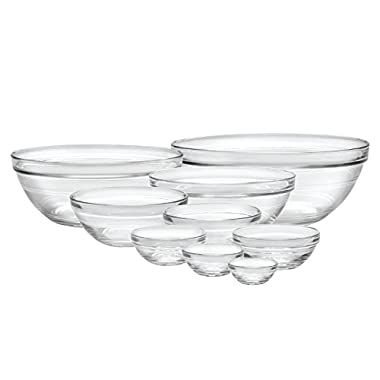 Duralex Made In France Lys Stackable 9-Piece Bowl Set