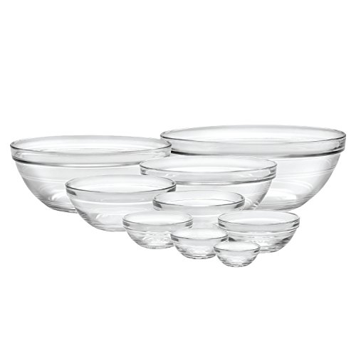 (Duralex 100009 Made In France Lys Stackable 9-Piece Bowl Set)