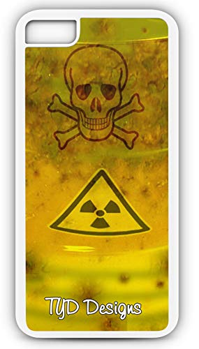 iPhone 8 Plus 8+ Case Skull Crossbones Toxic Waste Barrel Customizable TYD Designs in White Rubber ()
