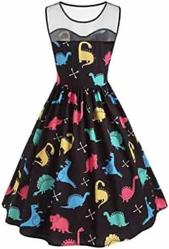 b4b33814437d Women O-Neck Mesh Cartoon Dinosaur Print Dress - Party Vintage Fashion  Sleeveless Dress,
