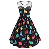 OldSch001 Women Fashion Sleeveless Mesh Cartoon Dinosaur Print Party Knee Swing Cocktail Dress(Black,XXL)
