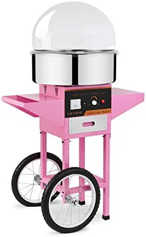 FoodKing Commercial Cotton Candy Machine 1030W for Wedding Party Electric Candy Floss Maker with Cart and Bubble Cover (Cotton Candy Machine Kit)