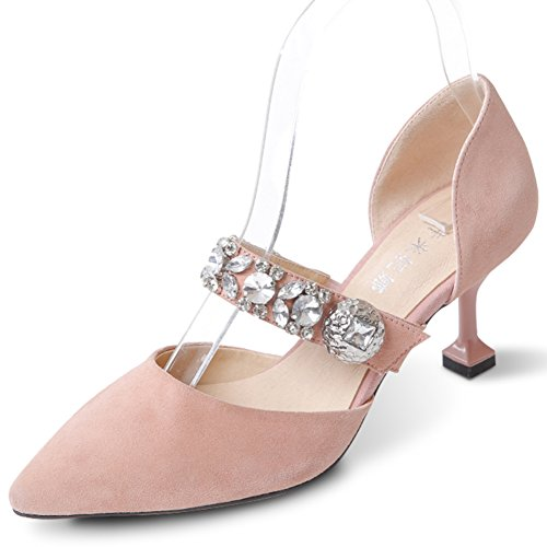 Tacones Puntiagudos De Piel De Oveja/Baotou Sandalias Huecas/Rhinestone Zapatos De Tacón Bajo Mujer A