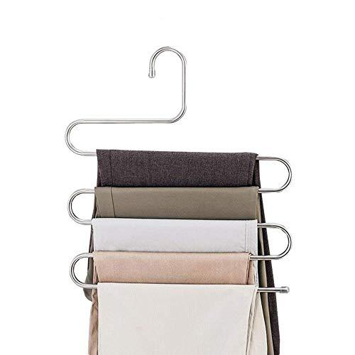ss Steel S Type Pants Hangers Multifunction Trouser Tie Scarfs Belt Towel Non-Slip Magic Hanger Storage Rack ()