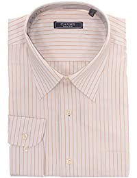 Classic Fit White And Orange Striped Cotton Dress Shirt