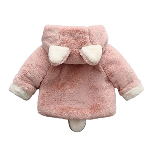 Infant Toddler Baby Girl Winter Warm Rabbit Ears Hoodies Fur Coat Thick Outerwear Snowsuit Jackets(Pink,13/110) by yijiamaoyiyouxia accessory (Image #2)