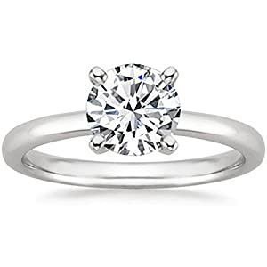 1 1/2 Carat 14K White Gold Round Cut Solitaire Diamond Engagement Ring (1.5 Carat K L Color I2 Clarity)